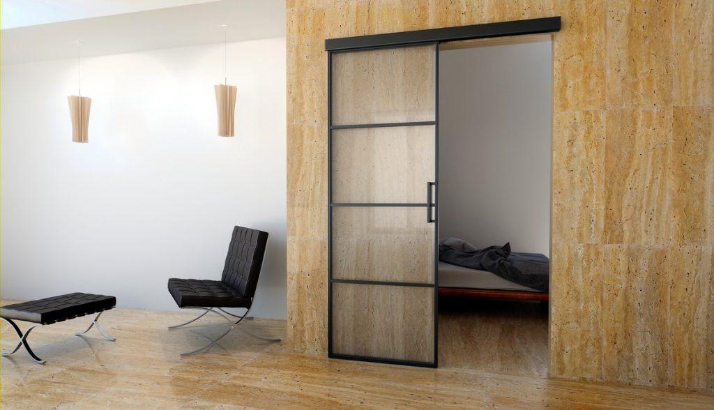 minimalistische moderne Türen aus Stahl und Glas